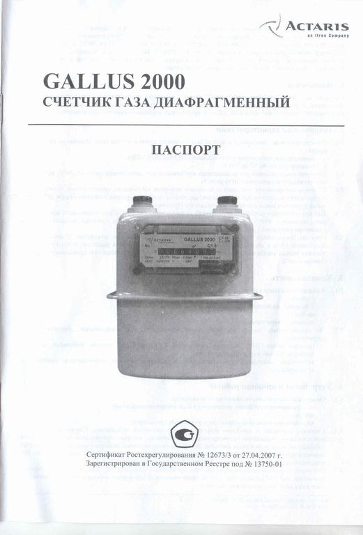 Счетчик газа Gallus 2002 G4. Паспорт
